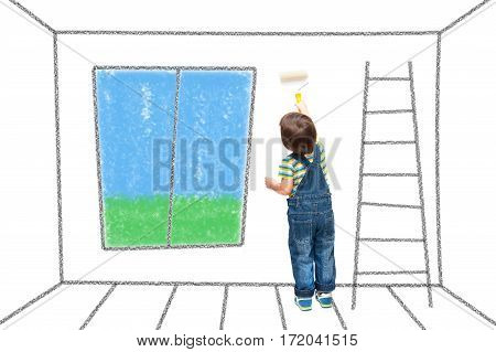 Child Paints The Wall In The House