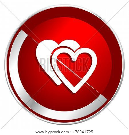 Love red web icon. Metal shine silver chrome border round button isolated on white background. Circle modern design abstract sign for smartphone applications.