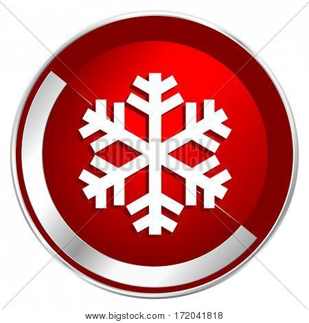 Snow red web icon. Metal shine silver chrome border round button isolated on white background. Circle modern design abstract sign for smartphone applications.