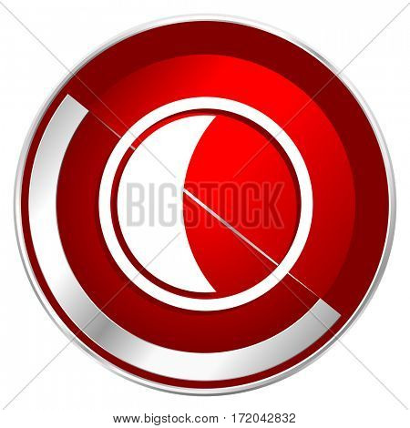 Moon red web icon. Metal shine silver chrome border round button isolated on white background. Circle modern design abstract sign for smartphone applications.