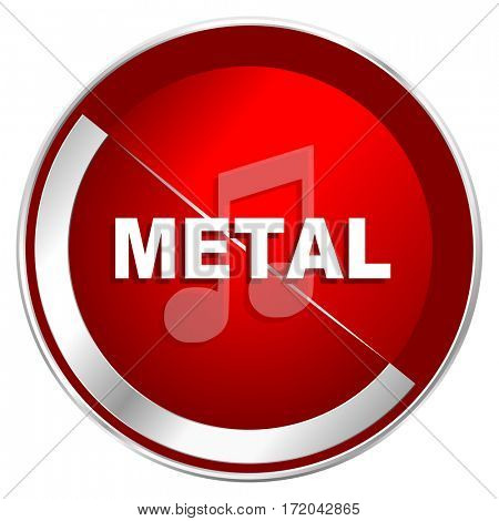 Metal music red web icon. Metal shine silver chrome border round button isolated on white background. Circle modern design abstract sign for smartphone applications.