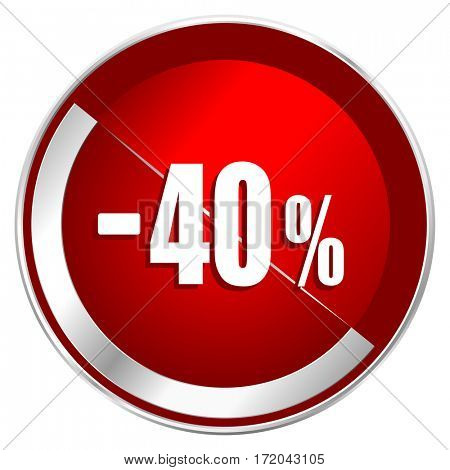 40 percent sale retail red web icon. Metal shine silver chrome border round button isolated on white background. Circle modern design abstract sign for smartphone applications.
