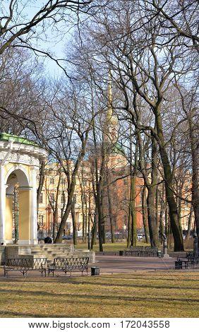 Mikhailovsky Garden in St.Petersburg at sunny spring evening Russia.