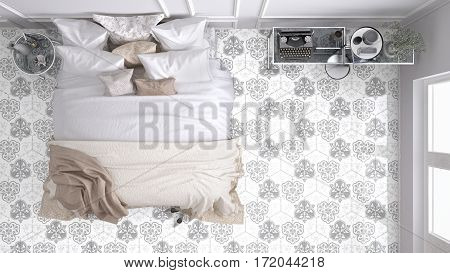 Classic bedroom top view with marble old vintage light gray tiles, 3d illustration