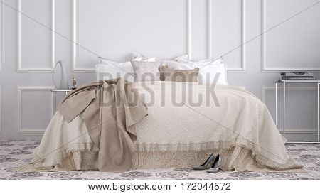 Classic bedroom with marble old vintage beige tiles, 3d illustration