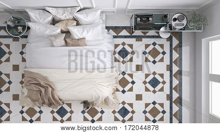 Classic bedroom top view with marble old vintage blue and brown tiles, 3d illustration