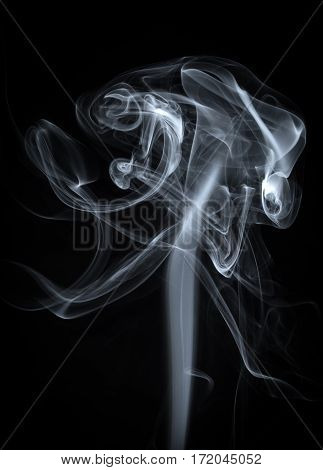 Abstract White Smoke on Black Background Rising Up