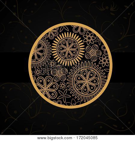 Black infernal card with golden floral circle