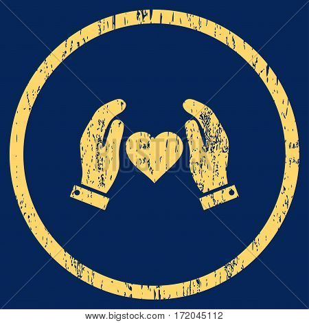 Love Care Hands grainy textured icon for overlay watermark stamps. Rounded flat vector symbol with unclean texture. Circled yellow ink rubber seal stamp with grunge design on a blue background.