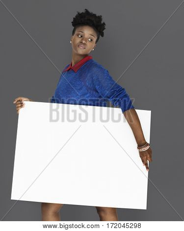 African Woman Holding Placard