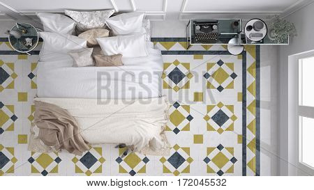 Classic bedroom top view with marble old vintage blue and yellow Tiles, 3d illustration