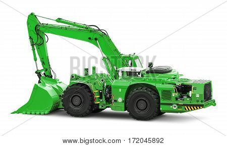 Big heavy green industrial hydraulic wheel excavator or bulldozer isolated on white background
