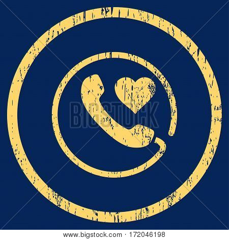 Love Phone grainy textured icon for overlay watermark stamps. Rounded flat vector symbol with dirty texture. Circled yellow ink rubber seal stamp with grunge design on a blue background.