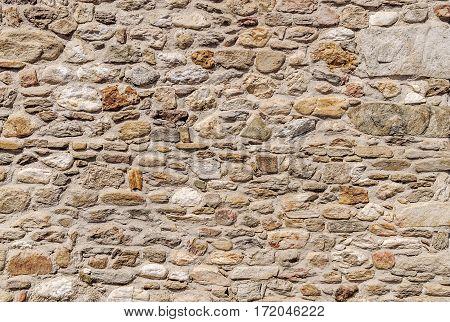 Beautiful old light yellow castle stone wall