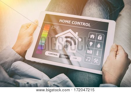 home smart system automated connection room thermostat control display monitoring tablet house remote internet light app technology concept - stock image