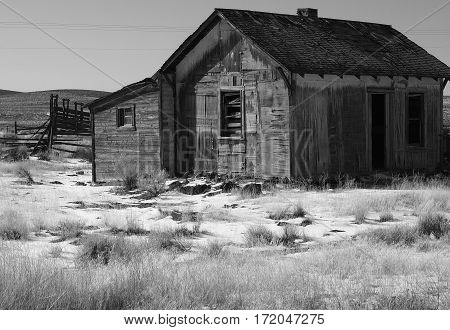 An long abandoned homestead in rural Central Oregon shows its wear from the elements on a winter day.