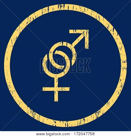 Sex Symbol grainy textured icon for overlay watermark stamps. Rounded flat vector symbol with scratched texture. Circled yellow ink rubber seal stamp with grunge design on a blue background.