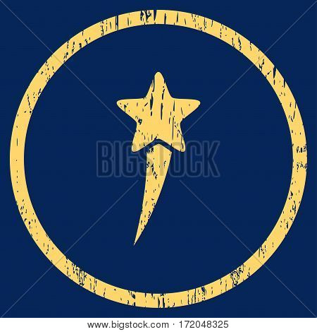 Starting Star grainy textured icon for overlay watermark stamps. Rounded flat vector symbol with dirty texture. Circled yellow ink rubber seal stamp with grunge design on a blue background.