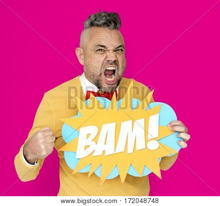 Bam Man Expression Holding Word