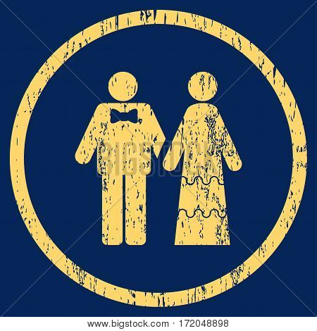Wedding Persons grainy textured icon for overlay watermark stamps. Rounded flat vector symbol with unclean texture. Circled yellow ink rubber seal stamp with grunge design on a blue background.