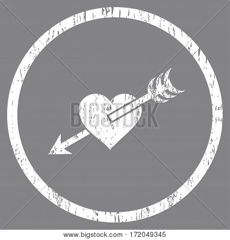 Arrow Heart grainy textured icon for overlay watermark stamps. Rounded flat vector symbol with unclean texture. Circled white ink rubber seal stamp with grunge design on a gray background.