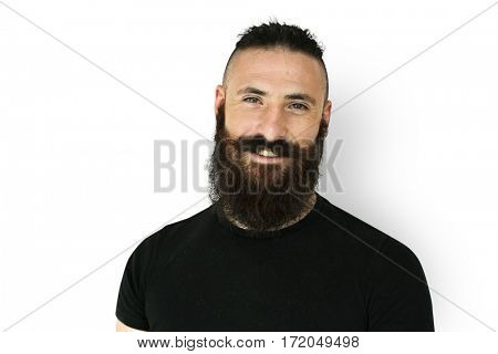 A man with beard and mustache in a studio shoot