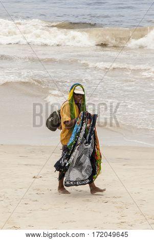 A seller of Brazilian souvenirs on the beach in Copacabana Rio de Janeiro - Brazil - December 19th 2013