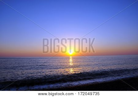 Sunset. Beautiful sunset Black Sea. Painting Sea sunset. The sea at sunset. Amazing sea sunset. Sunset sea waves. Summer Sunset. Beautiful seascape evening sunset sea and sky horizon.