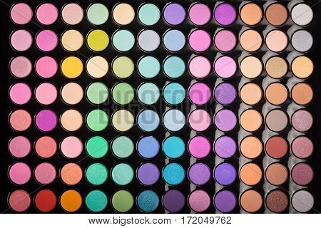 Beautiful make-up eyeshadow palette background. Makeup eyeshadow palette