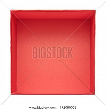 Opened gift box isolated on white background. View from above