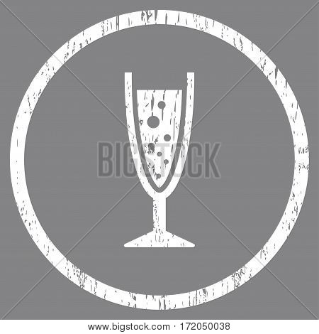 Champagne Glass grainy textured icon for overlay watermark stamps. Rounded flat vector symbol with dust texture. Circled white ink rubber seal stamp with grunge design on a gray background.