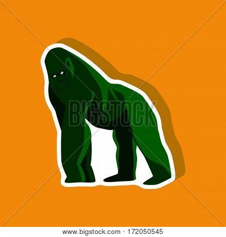 gorilla paper sticker on stylish background isolated