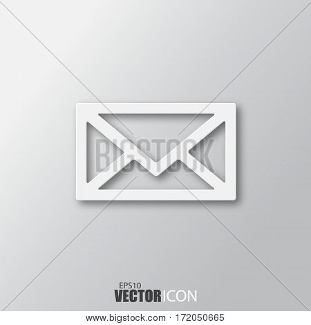 Envelope Icon In White  Style With Shadow Isolated On Grey Background.