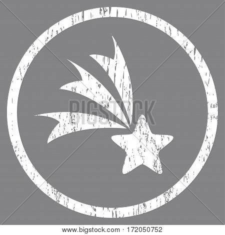 Falling Star grainy textured icon for overlay watermark stamps. Rounded flat vector symbol with scratched texture. Circled white ink rubber seal stamp with grunge design on a gray background.