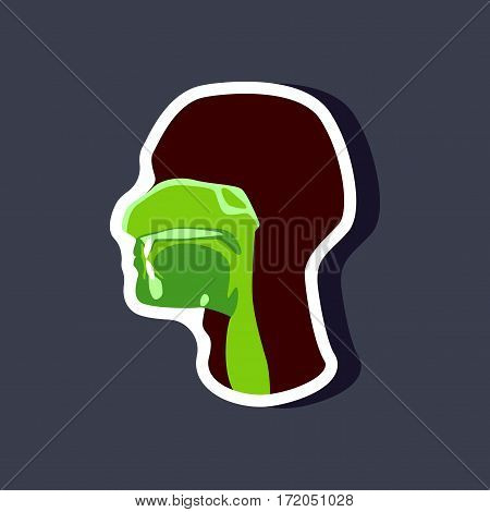 pharynx paper sticker on stylish background isolated