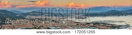 La Spezia And Gulf Of Spezia With Pink Clouds At Sunset
