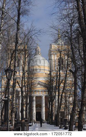 Alexander Nevsky Lavra in St. Petersburg in the winter
