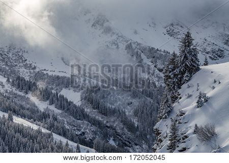 Snowy Wilderness In A Valley With Clouds