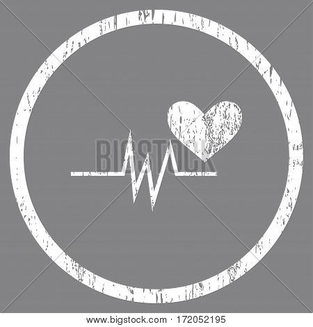 Heart Pulse Signal grainy textured icon for overlay watermark stamps. Rounded flat vector symbol with scratched texture. Circled white ink rubber seal stamp with grunge design on a gray background.