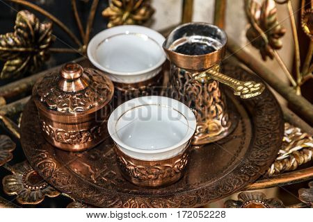 Coffee traditional arabic table appointments - turks and cups