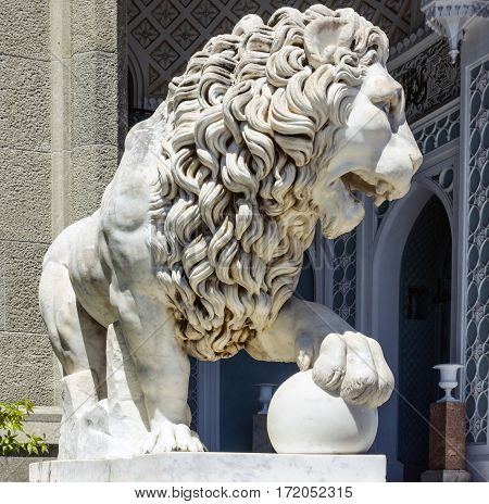 Marble lion sculpture in Vorontsov Palace in Alupka, Crimea Russia