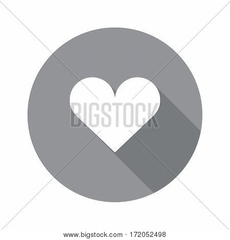 heart vector icon with grey long shadow