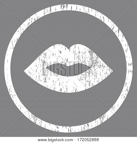 Lips grainy textured icon for overlay watermark stamps. Rounded flat vector symbol with scratched texture. Circled white ink rubber seal stamp with grunge design on a gray background.