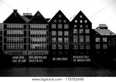 BREMEN, GERMANY - AUGUST 30: The facade of the Weserburg museum a brick building on the banks of the Weser on August 30, 2016 in Bremen.