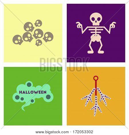assembly of flat icons halloween skeleton sign chicken feet skulls
