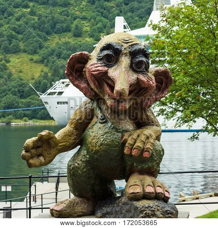 Troll monument in Geiranger, Norway. Trolls are evil personages of popular Scandinavian folklore.