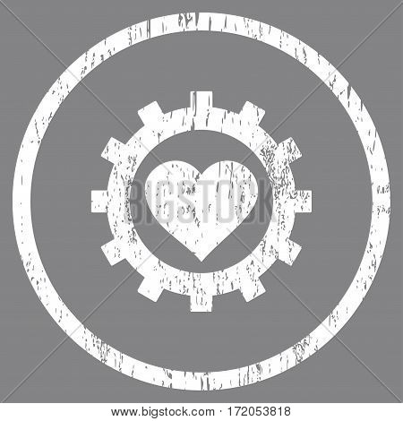 Love Heart Options Gear grainy textured icon for overlay watermark stamps. Rounded flat vector symbol with dust texture. Circled white ink rubber seal stamp with grunge design on a gray background.