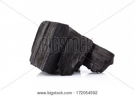 hardwood charcoal coal Isolated on white background