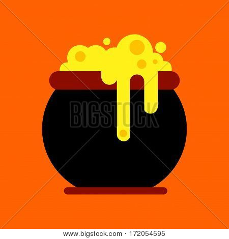flat icon on stylish background halloween witches cauldron