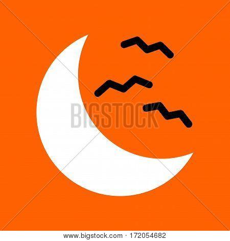 flat icon on stylish background halloween moon bats